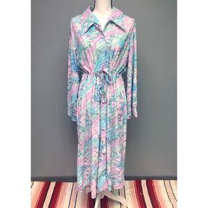 VTG 70s Pastel Floral Dragonfly Print Midi Dress